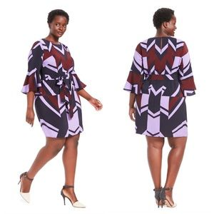 Eloquii Printed Bell Sleeve Dress